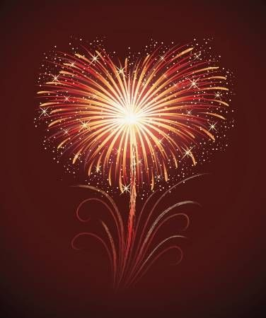Illustration of Firework in a shape of heart on the red background. vector art, clipart and stock vectors. Image 16758941.