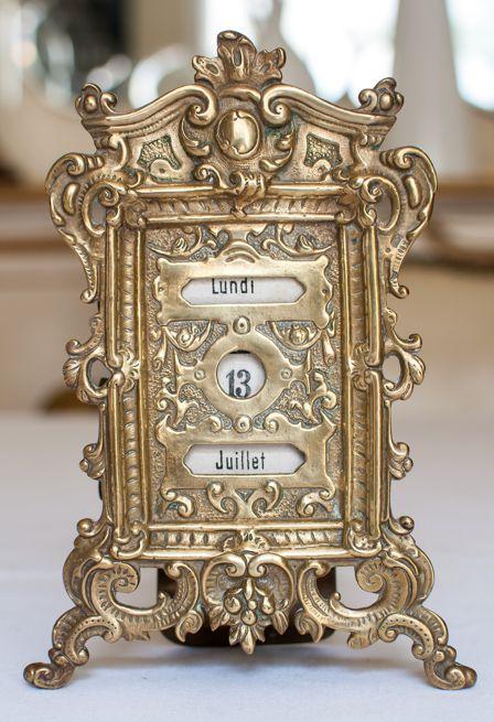#Antique French Brass Perpetual Calendar