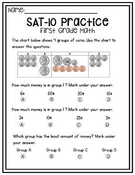 First Grade Sat 10 Math Practice By Amores Education Tpt Math Practices Math First Grade Math