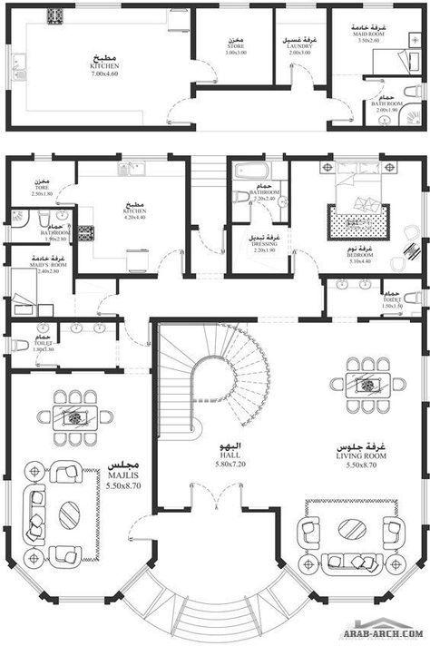 مخطط فيلا من سكن Ma 05 5 غرف نوم أبعاد المسكن 16 40م عرضx19م عمق House Plans Model House Plan Family House Plans