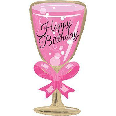 Folienballon Happy Birthday Sektglas Xxl 50cm Luftballon Zum