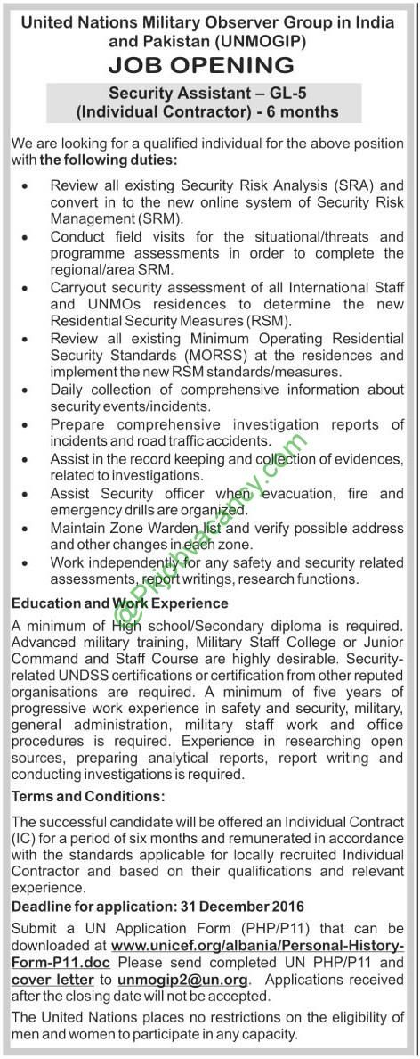 United Nations Military Observer Group In India And Pakistan Jobs