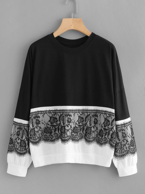 Shop Contrast Eyelash Lace Two Tone Pullover online. SheIn offers Contrast Eyelash Lace Two Tone Pullover & more to fit your fashionable needs.