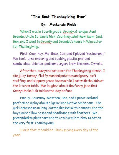 The Best Thanksgiving Ever Personal Narrative Sample Teacher