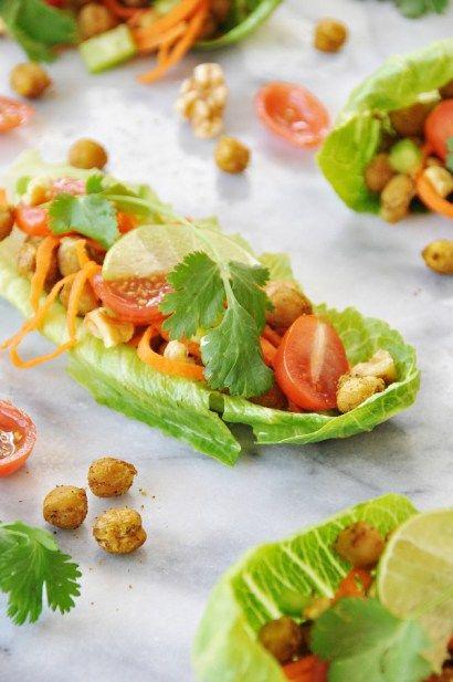 Spicy Roasted Chickpea Lettuce Wraps - Veganosity