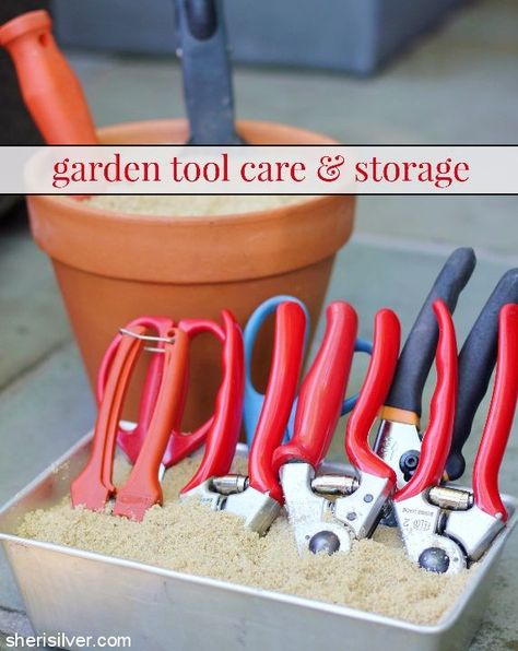 Gardening Tips Tips on how to care for and store your garden tools - winter is coming! - Tips on how to care for and store your garden tools - winter is coming! Best Garden Tools, Garden Tool Shed, Garden Tool Storage, Shed Storage, Garden Tips, Garden Organization, Garden Sheds, Garage Storage, Storage Organization