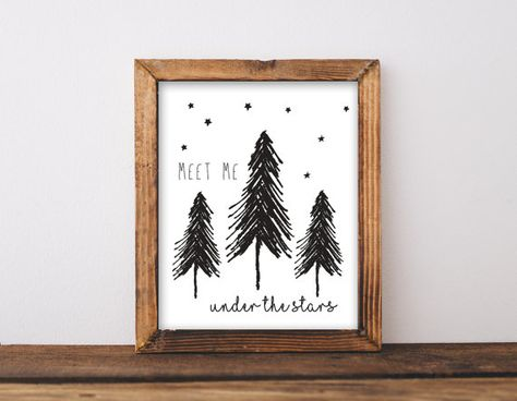 Meet Me Under the Stars Nursery Wall Art, Adventure Baby Shower Gift Woodland Bedroom Decor, Black & White Monochrome