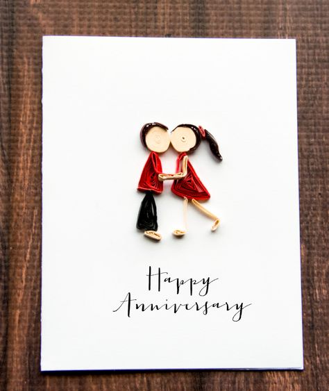 Happy Anniversary Card - Naughty Anniversary Card - Sexy Anniversary Card - Naughty Card - Sexy Card - Kiss Card All our handmade greeting cards are made using the ancient art of paper quilling and is sure to be treasured as a keepsake forever. DETAILS: - 5.5 x 4.25 A2 folded card