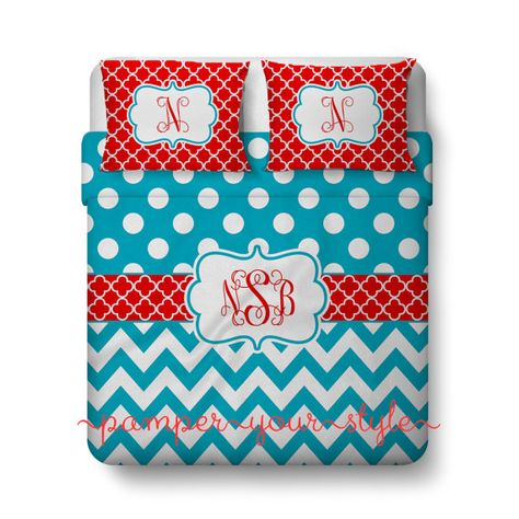 Polka dot Chevron & Clover Bedding Turquoise by PAMPERYOURSTYLE