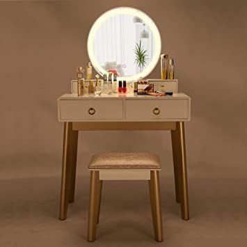 Wooden Dressing Table Mirror With Lights