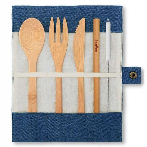 Set de couverts en bambou Bleu Bambaw® - Paille éco-responsable