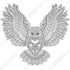 Owl Adult Coloring Book Page Zentangle Doodle Pages