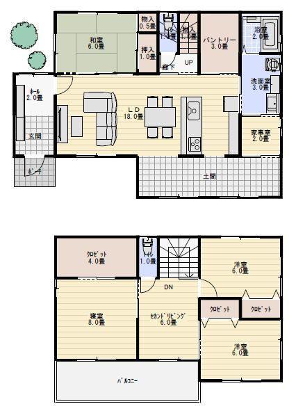 40坪ダイニングキッチンに土間スペースのある間取り 間取り 人気 20坪 間取り