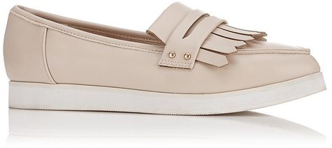 Womens shell pink effie fringe flatform shoes, nude from Miss Selfridge - £28 at ClothingByColour.com