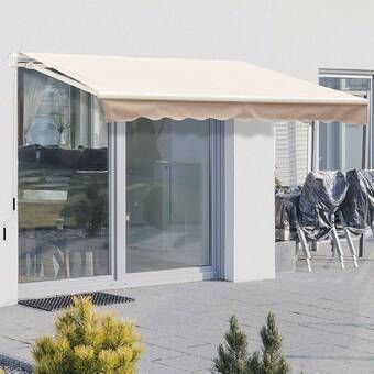 10 Ft W X 8 Ft D Fabric Retractable Standard Patio Awning In 2020 Patio Awning Retractable Awning Fabric Awning