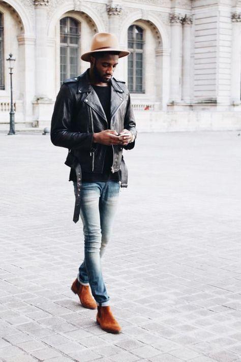 Men's Black Leather Biker Jacket, Black Crew-neck T-shirt, Light Blue Skinny Jeans, Tobacco Suede Chelsea Boots