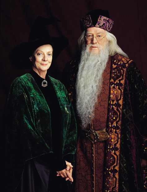 """Minerva McGonagall & Albus Dumbledore, """"Harry Potter"""". Not a romantic couple, but they made a powerful team."""