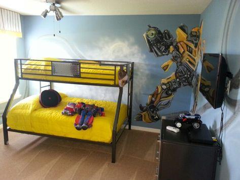 Transformers room. TRANSFORMER decal   Boy bedroom   optimus prime   bumblebee