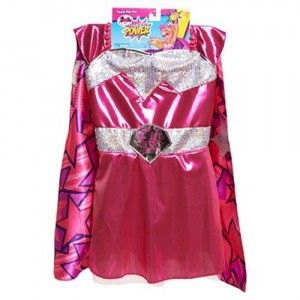 This pink dress has lots of silver sequins and a double-sided pink-and-purple cape with silver glitter.