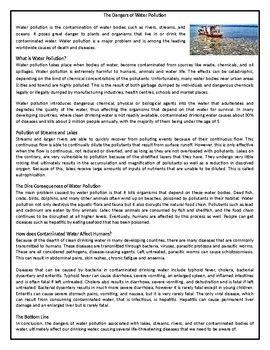 The Danger Of Water Pollution Reading Comprehension Informational Text Worksheet Worksheets Essay Land