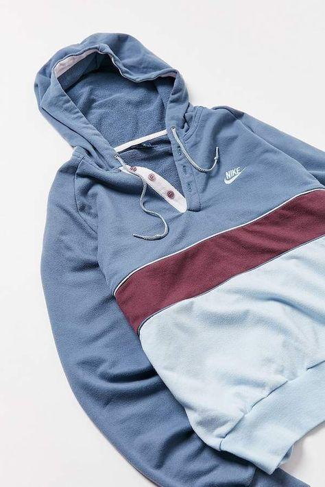 Urban Renewal Vintage Nike Henley Hoodie Sweatshirt #Vintage