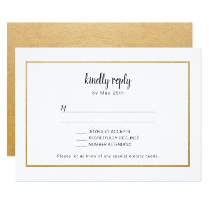 Faux Gold Foil Frame Wedding Rsvp Reply Card Zazzle Com With