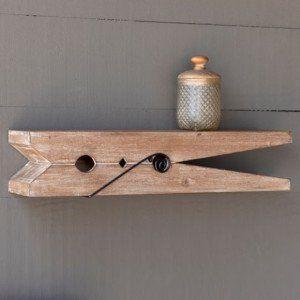 Wood Clothespin Shelf 24 Inch Decor Farmhouse Wall Decor Home Decor