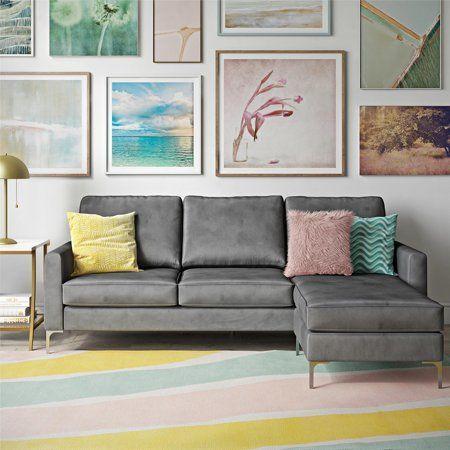 Novogratz Chapman Sectional Sofa With Chrome Legs Gray Sponsored Sectional Sofa Velvet Sectional Modern Sofa Sectional
