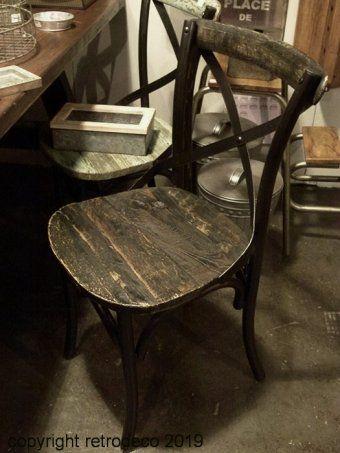 Chaise Industrielle Metal Et Bois Use Noir Antic Line Chaise