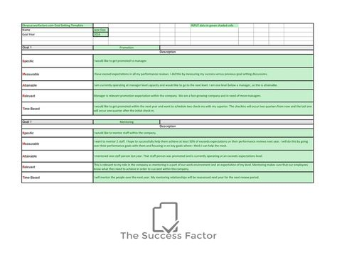 Employee Goals and Objectives Template business Pinterest - monthly performance review template