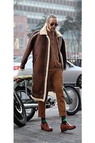 Meski Trend Z Ulicy Kolorowe Skarpety Menswear Leather Jacket Fashion