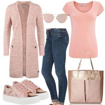 Metallic Rosa Damen Outfit Komplettes Frühlings Outfit