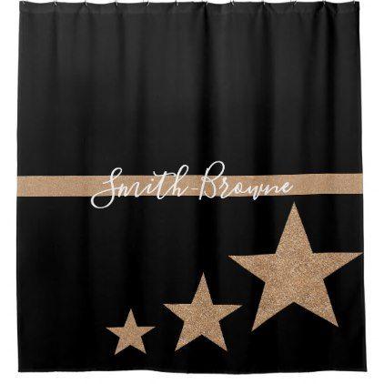 Shower Curtain Monochrome Black White Rose Gold Chic Design Idea