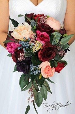 Artificial Wedding Flower Bouquets Burgundy