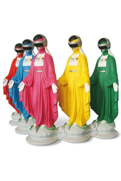Virgin Mary Power Rangers- this is also interesting that there are even more virgin mary superhero dolls. they are protectors of evil and they fight crime and do good for others. what does virginity have to do with this?