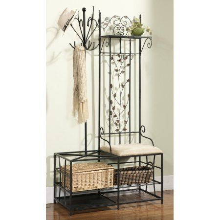 Black Metal Entryway 12 Hook Coat Hat Rack Hall Tree Stand Organizer Display With Storage Shelves Bench Umbrella