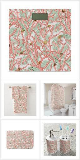 Coral Branches And Seashells Coral Seashells Bathroom Decorate