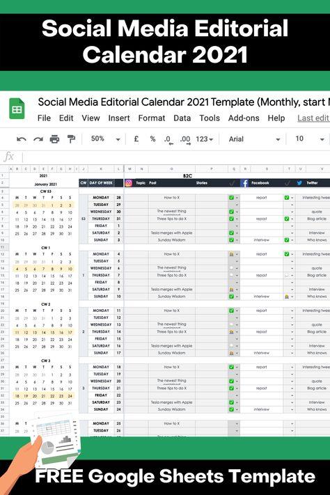 Social Media Editorial Calendar 2021