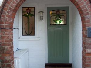 1920 S Stained Glass Door Fitted In London Classic 1920 S Green Paint Green Front Doors Stained Glass Door External Doors