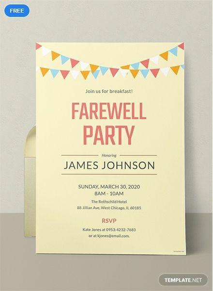 Free Farewell Breakfast Party Invitation Template Party Invite Template Going Away Party Invitations Invitation Templates Word