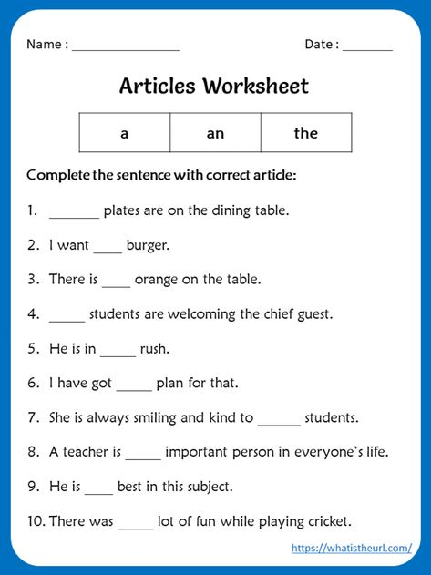 Articles Worksheets for 5th grade - Your Home Teacher