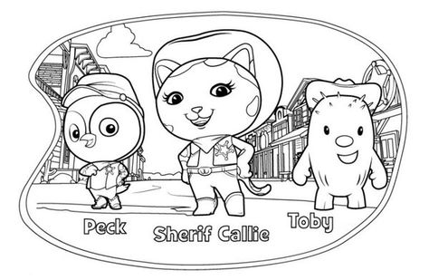 Printable Sheriff Callie Peck Toby Colouring Pages 550x359 Picture