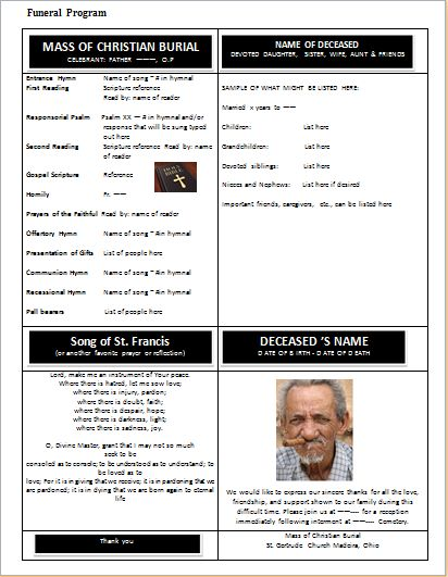 Charming Funeral Program Format Template At Word Documents.com | Microsoft Templates  | Pinterest | Funeral, Template And Programming