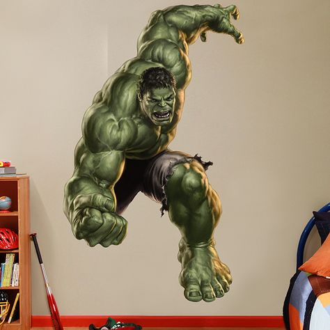 Hulk smashed 3d wall sticker bedroom kids avengers art removable ...