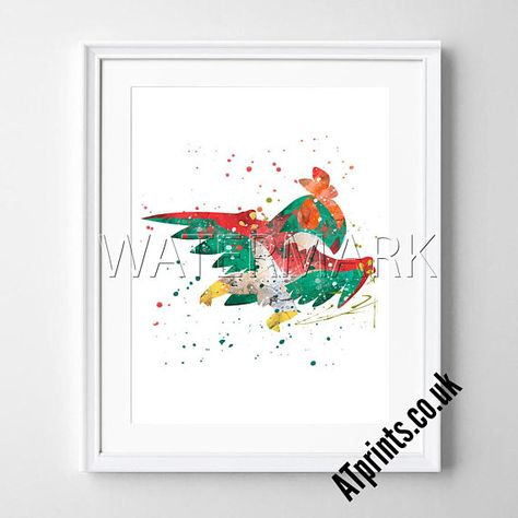 Hawlucha Pokemon Print Poster Watercolour Framed Canvas Wall Art Gift idea