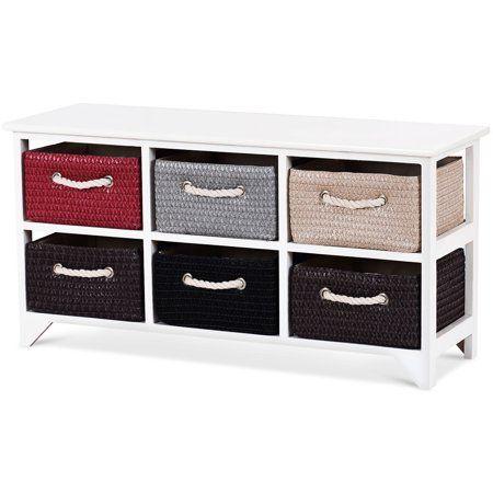 Home In 2020 Wicker Basket Storage Unit Wooden Storage Cabinet