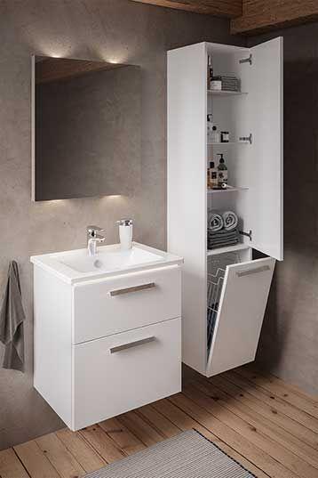 Ein Im Schrank Integrierter Waschecontainer Ist Sehr Praktisch Zur Aufbewahrung In 2020 Bathroom Lighted Bathroom Mirror Bathroom Mirror