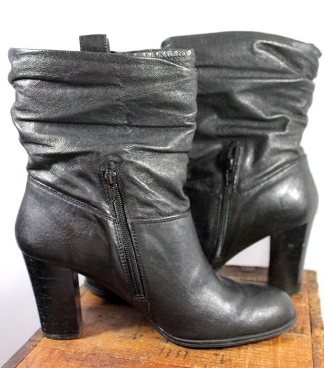 2d33126e0e2 Nine West Nolilybell Black Leather Slouch Tab Top Mid Calf Boot ...