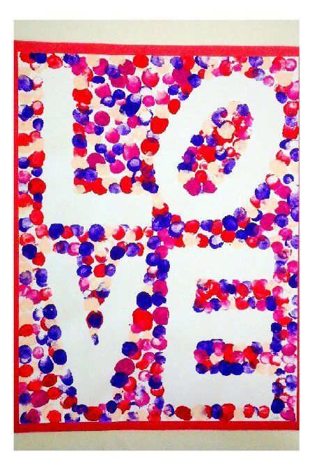 robert indiana inspired finger paint art i did with my kindergarten class for valentines day kollaborative kindergarten pinterest finger paint art - Valentines For Kindergarten Class
