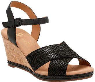 Details about  /Ladies Clarks Open Toe Wedge Sandals Helio Latitude